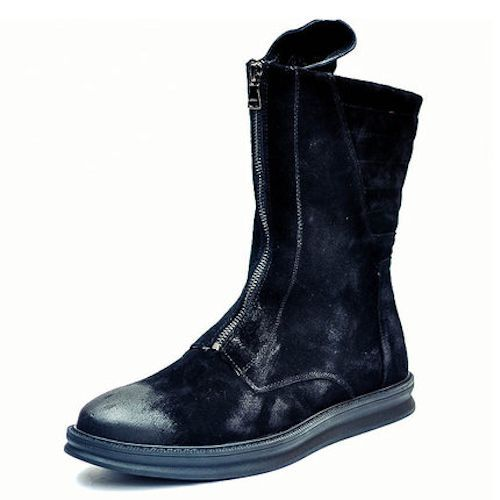 Black Suede Winter Gothic Fashion Motorcycle Combat High Boots Men SKU-1280053
