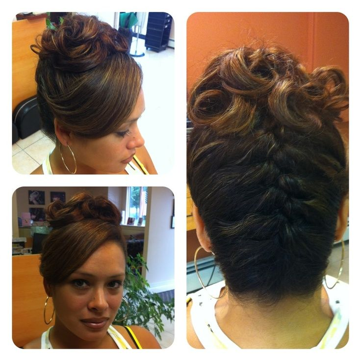 upside down french braid updo | upside down french braid with curls on the top