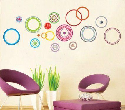 ufingodecor cerchi colorati adesivi murali camera da letto soggiorno adesivi da parete removibilistickers
