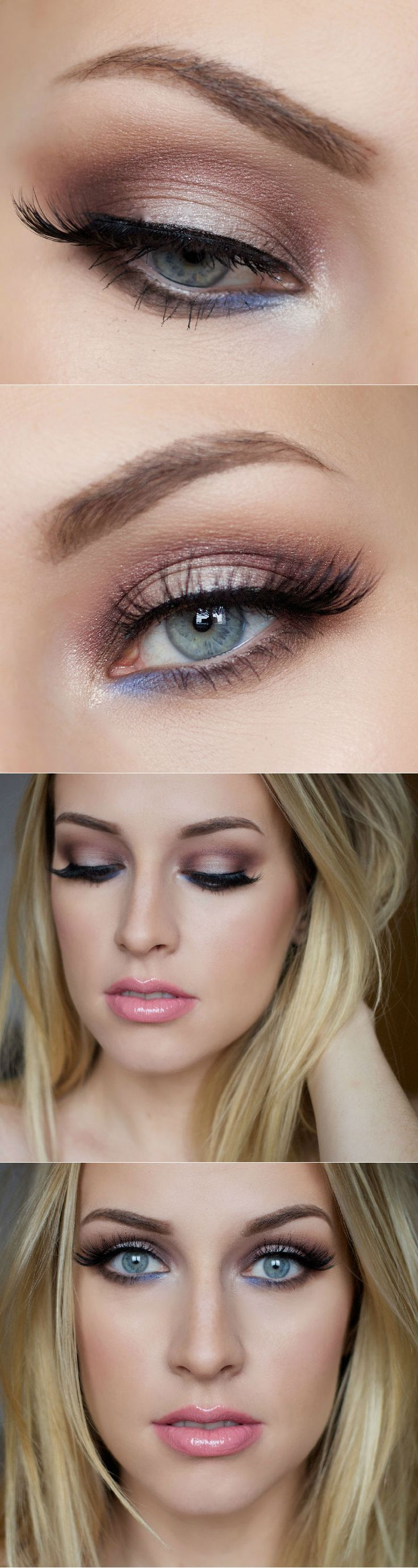 A dab of blue on the bottom lids add a perfectly unexpected pop of color, making your eyes stand out.