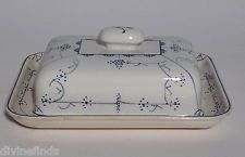 Vintage Villeroy Boch Dresden Blue & White Saxony Butter Dish With Cover