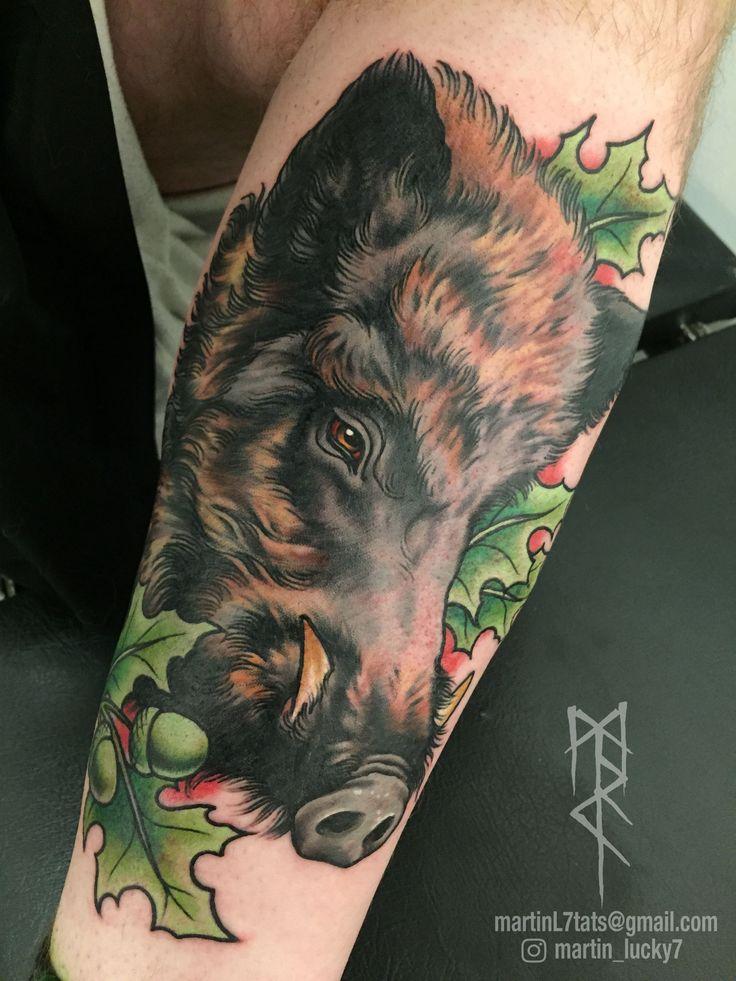 #boar #wildboar #razorback #neotraditional #tattoo #tattoos
