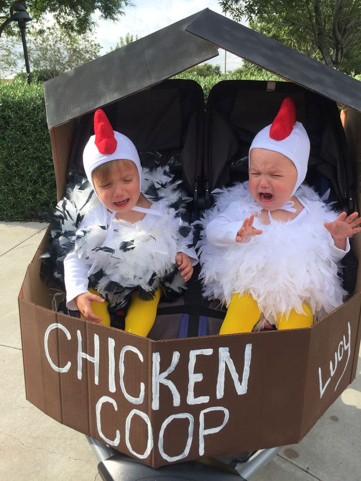 Twins chicken costumes in BOB twin running stroller chicken coop Halloween 2015