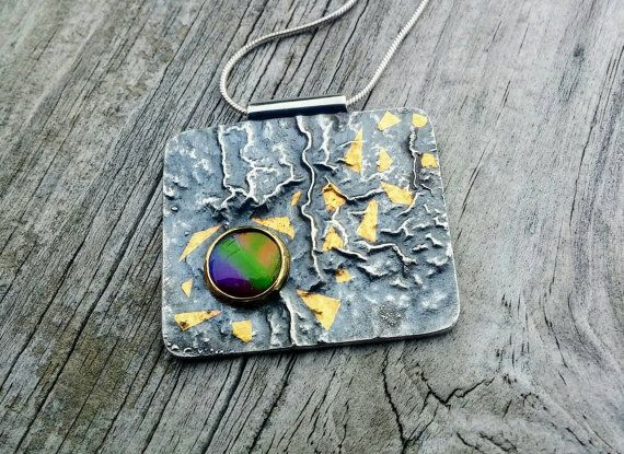 Ammolite Multi Colored Gemstone Textured by LolaJewelleryDesign
