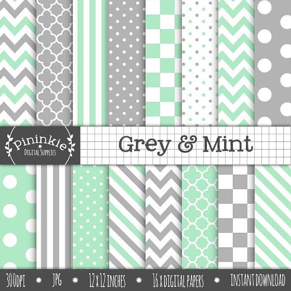 Mint Digital Paper Pack Grey Digital Scrapbook Paper by Pininkie, $4.00