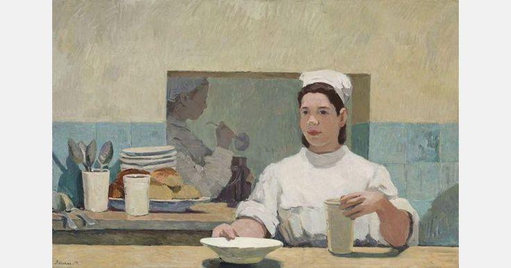 """Józefa Wnukowa, """"Bar mleczny"""", 1954, olej na płótnie, 73 x 118 cm, wł. Muzeum Narodowe w Warszawie, fot. materiały prasowe / Museum voor Moderne Kunst Arnhem"""