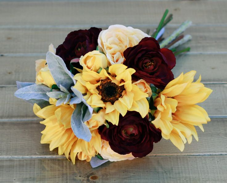 Silk Sunflower and Plum Autumn Wedding Bouquet Ranunculus and Roses