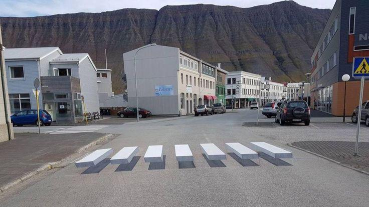 Sådan ser fodgængerfeltet ud, der er lavet, så bilister i højere grad vil standse op. Foto: Gusti Photographia