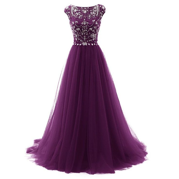 purple prom dress, long prom dress, tulle prom dress, charming prom dress, beaded evening dress, BD63