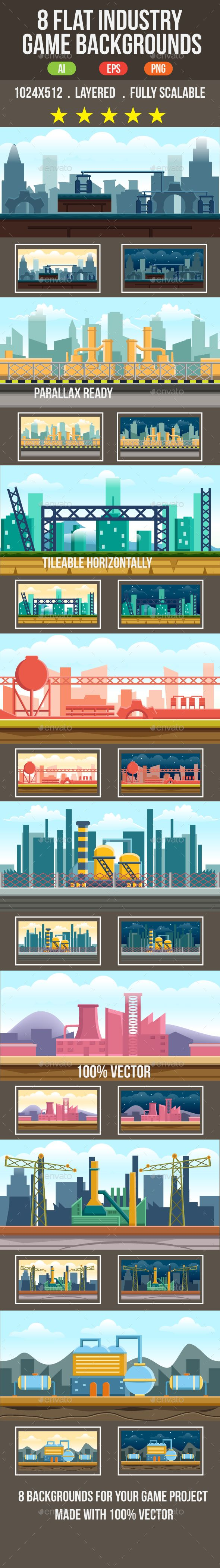 8 Flat Industrial Game Backgrounds - Backgrounds Game Assets