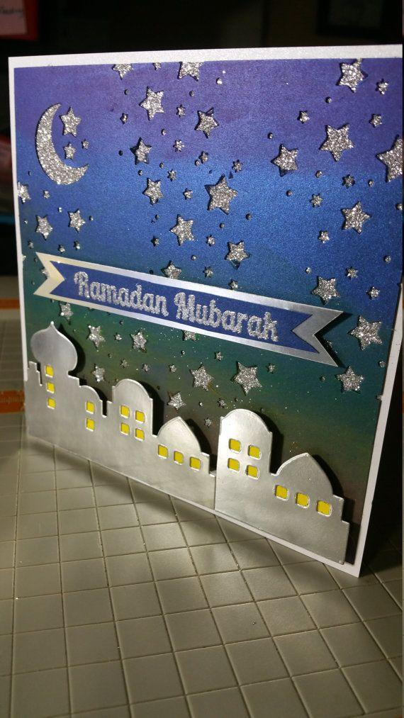 Handmade handpainted Ramadan or Eid Card in my Etsy Shop https://www.etsy.com/listing/399692193/handmade-ramadan-or-eid-card-with-sunset