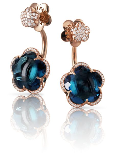 Pasquale Bruni - Rose gold earrings with blue london topaz and diamonds
