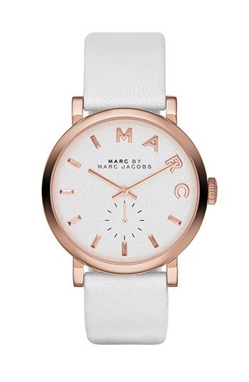 MARC BY MARC JACOBS 'Baker' Leather Strap Watch, 37mm available at #Nordstrom in love