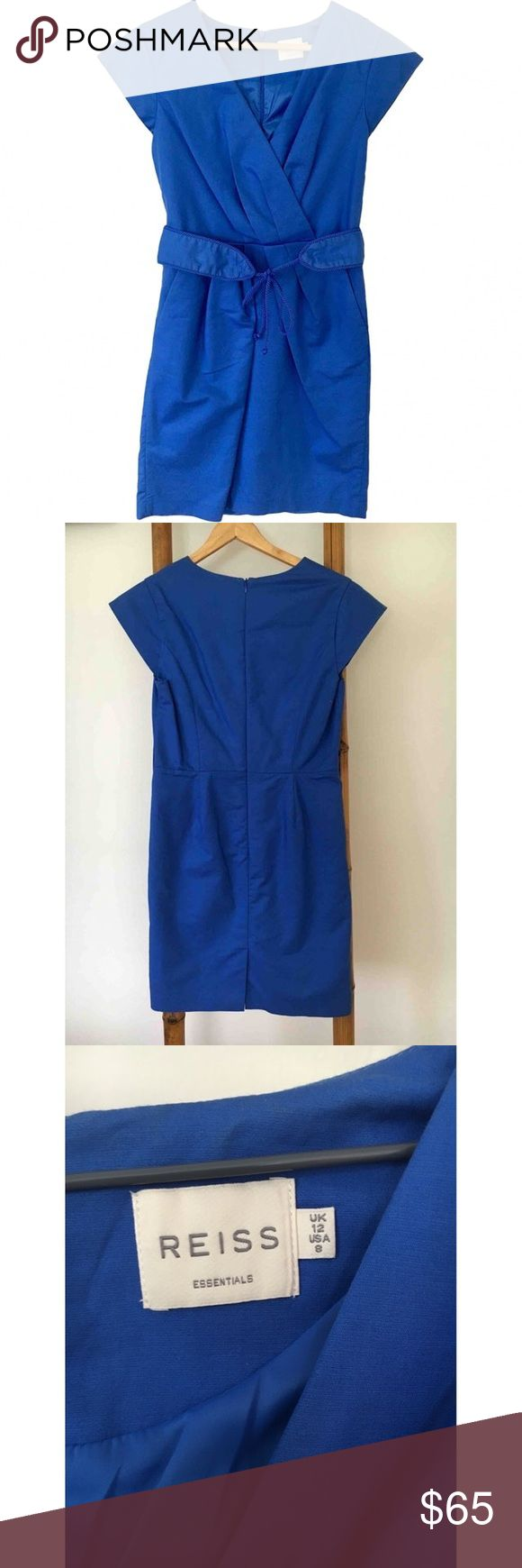 "🌪 ""cyber Monday"" Reiss dress Electric blue dress with 2 belt pockets, draped front and a belt. Knee length In perfect condition: no holes, stains or tears Reiss Dresses Midi"
