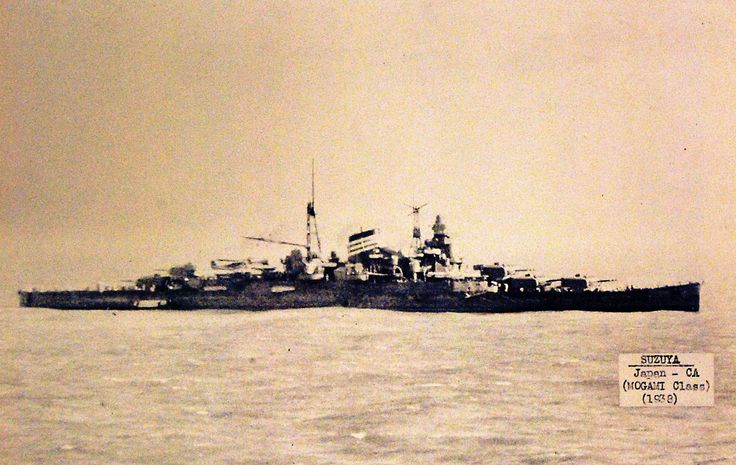 IJN cruiser Suzya, Mogami class, starboard view, 1938. Suzya was sunk by TBM Avenger aircraft at the Battle of Leyte Gulf (Battle off Samar) on October 25, 1944. Halftone copy from the files of the Department of Naval Intelligence, June 1943. Courtesy of the Library of Congress. (2016/05/12).