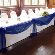 Gratis verzending 5 m * 1.35 m navy bluetop tafel swags sheer organza bruiloft boog decoraties diy(China (Mainland))