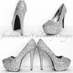 Glitter High Heels Silver Platform Pumps Grey Gray Sparkly Wedding Shoes Glitzy Prom Shoes G #promheelssilver #promshoessparkly #weddingshoes
