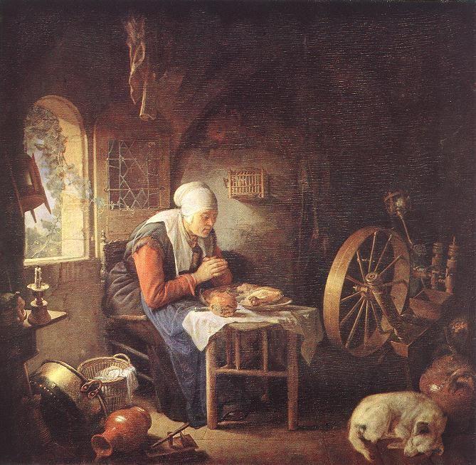 Gerrit Dou (1613-1675)  The Prayer of the Spinner  Oil on wood