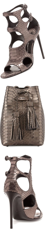 TOM FORD Cutout Python 105mm Sandal, Antique Gunmetaland Python Small Double-Tassel Bucket Bag