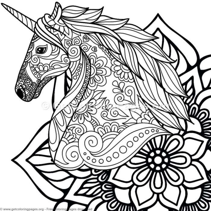 4 Zentangle Unicorn And Mandala Coloring Pages Unicorn Birthday Party Ideas Kids Unicorn Themed B Mandala Coloring Pages Horse Coloring Pages Mandala Coloring