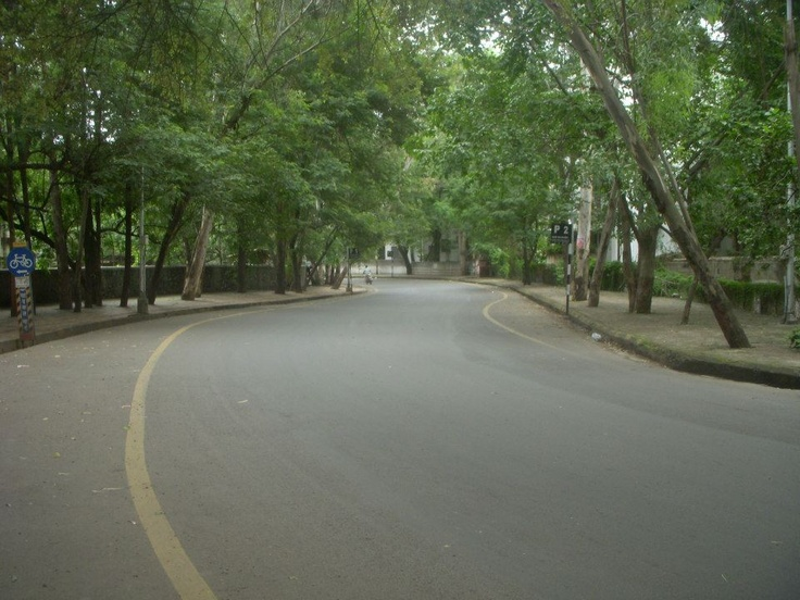 Well maintained shady road — at Canal road near SNDT.