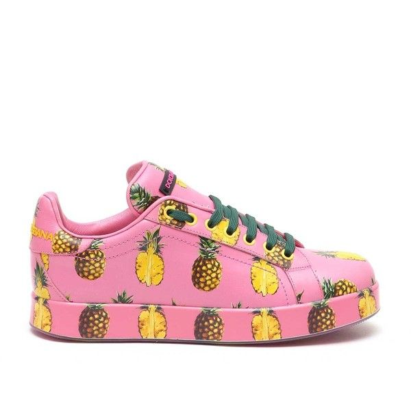 Dolce and Gabbana Lace Sneaker Pineapple Printed in Calf Leather ($639) ❤ liked on Polyvore featuring shoes, sneakers, dolce gabbana sneakers, lace sneakers, lacy shoes, lace shoes and print sneakers
