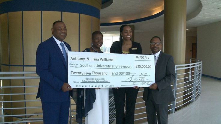 Alums Tony Williams and his wife Tina Williams presented a $25-thousand check to Southern University Shreveport help start a new program at SUSLA, the Five-Fifths Agenda for America.    The new program starts 2018 and will target underprivileged minority males who are driven and want to eventually get a four-year college degree.  The couple owns a government consulting company covering information technology, cyber technology and security with 250 employees.