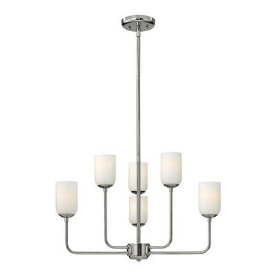 Hinkley Lighting 4216 Harlow 6 Light Chandelier This Hinkley Lighting item comes in a polished nickel finish. Features etched opal glass. Works with six