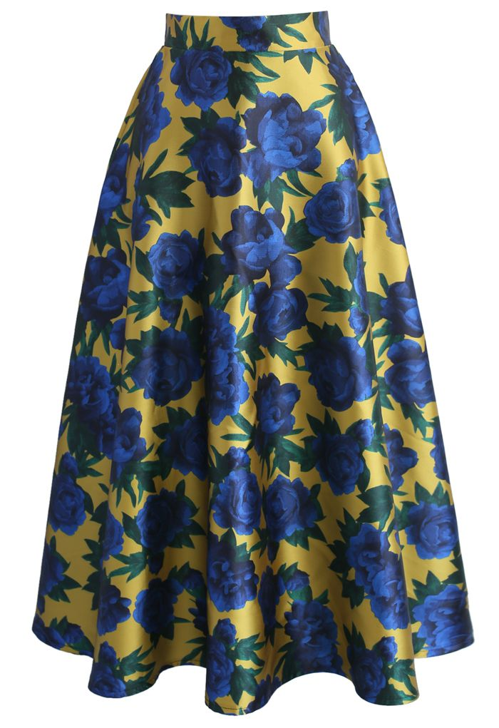 Dazzle Blue Rose Printed Midi Skirt   - New Arrivals - Retro, Indie and Unique Fashion