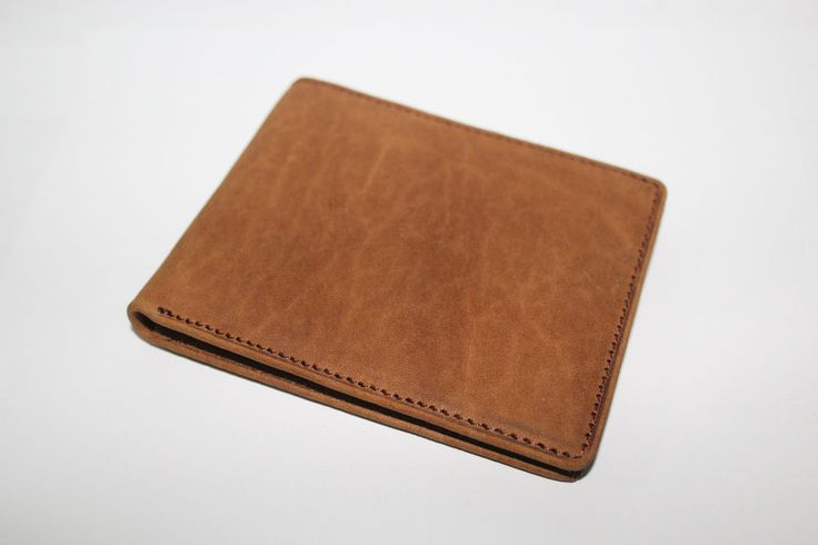 New Handmade Genuine Cowhide Leather Cow Men's Wallet Bifold Slim Purse Brown #Handmade