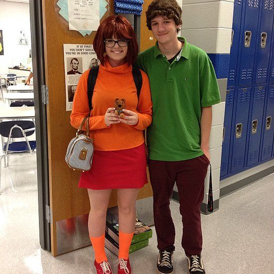 Velma and Shaggy: Solve mysteries with a partner this spooky holiday in a Velma or Shaggy costume.  What you need: For Velma, wear an orange turtleneck, red skirt, orange socks, and red shoes, as well as black-rimmed glasses. For Shaggy, wear a baggy green shirt and brown pants. Leave your beard unshaven for a couple of days.  Source: Instagram user shelbysocks