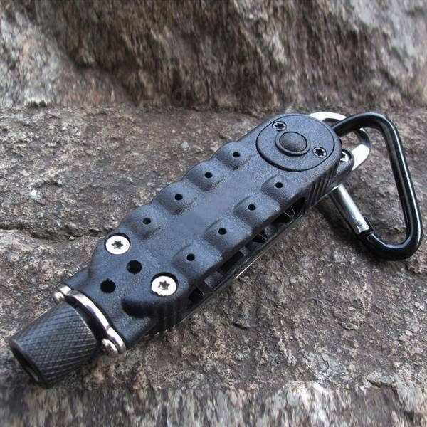 Description: EDC Multi-functional Climbing Carabiner Paracord Buckle Screwdriver Flashlight Wrench Tool Specifications: Model 9094: Mirror Polished Length: 95mm / 3.74 inch Thickness: 14mm Diameter: 12mm Weight: 55g Color: Black Features: 1. Screwdrivers, flat and phillips hex bit carrier,...