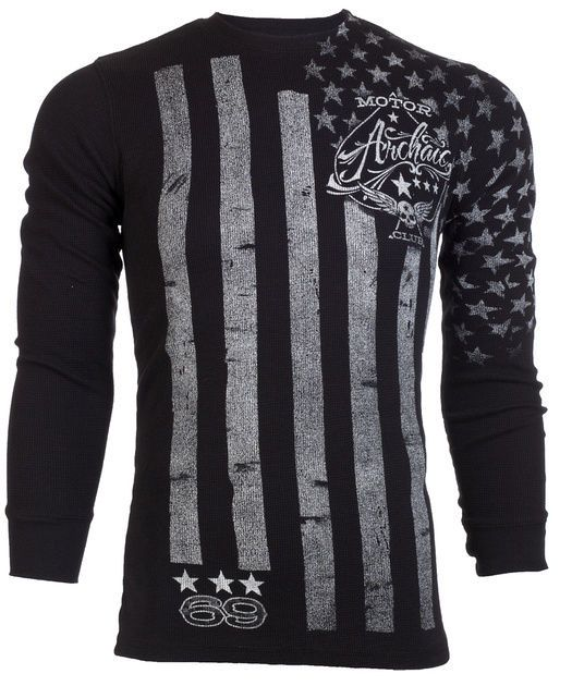 Archaic AFFLICTION Mens THERMAL T-Shirt NATION Tattoo USA FLAG Biker M-3XL $58 #Affliction #GraphicTee