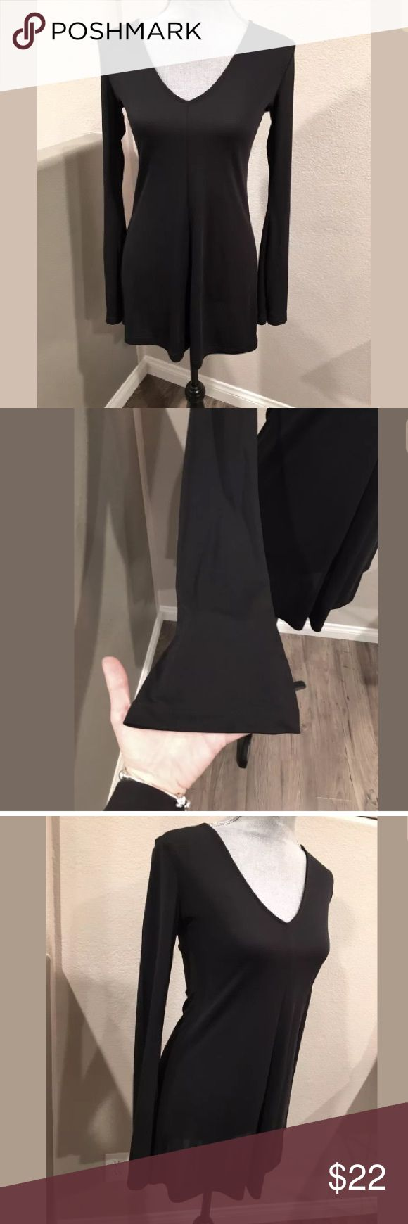 ASOS Black V Neck Long Bell Sleeves Black Dress 2 Excellent Condition like new this dress looks killer with over the knee boots size 2 ASOS Dresses Mini