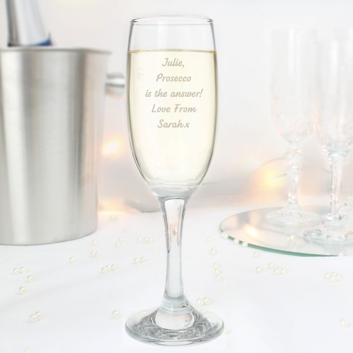 There s no better way to celebrate a special occasion than with our Any Message Prosecco Flute This flute can be personalised with 5 lines of text