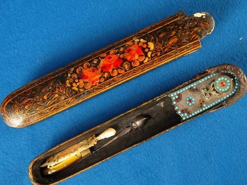 Antique Qajar Persian Qalamdan Pen Case Inkwell Islamic