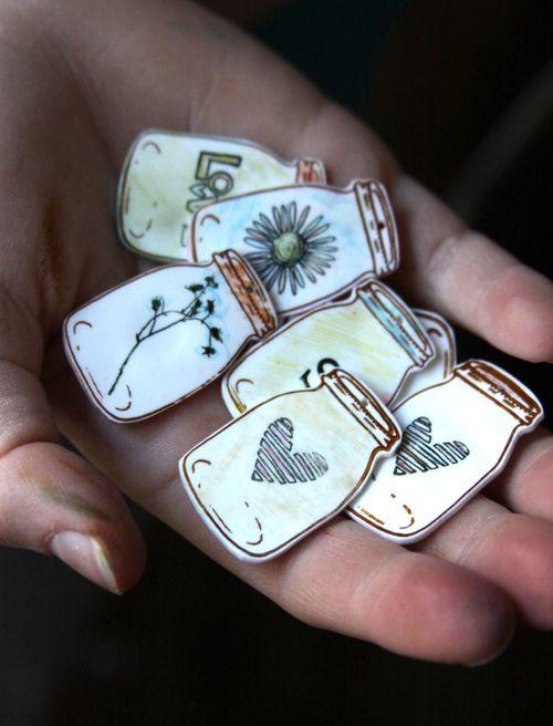 Stamped Mason Jar Shrinky Dink Pendants Tutorial :: by Shona Cole