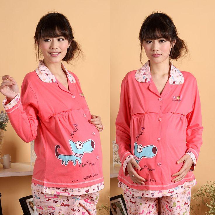 Одежда для беременных осень 100% хлопок для загрузки с длинными рукавами женская одежда для кормления одежда для кормления костюм 6018