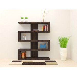 Buy wooden bookshelves online from scaleinch.com Get modern bookshelf with cleverly crafted design and dark wood color brings home an enlightenment.