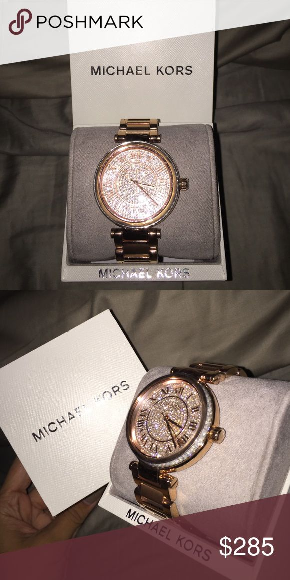 Michael Kors rose gold diamond watch Authentic Rose Gold Michael Kors diamond face and side watch. This watch is WATERPROOF 💦 and is absolutely gorgeous. Brand new in box. 250 on 🅿️🅿️ Michael Kors Accessories Watches