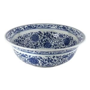 Chinese Dynasty II Porcelain Bathroom Vessel Sink in White and Blue-FSA-PVS-PT-008 at The Home Depot