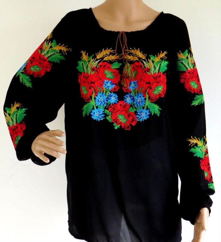 "Ladies Long Sleeve Blouse ""Red Poppies on Black"" stylishdiscoveries.com.au"