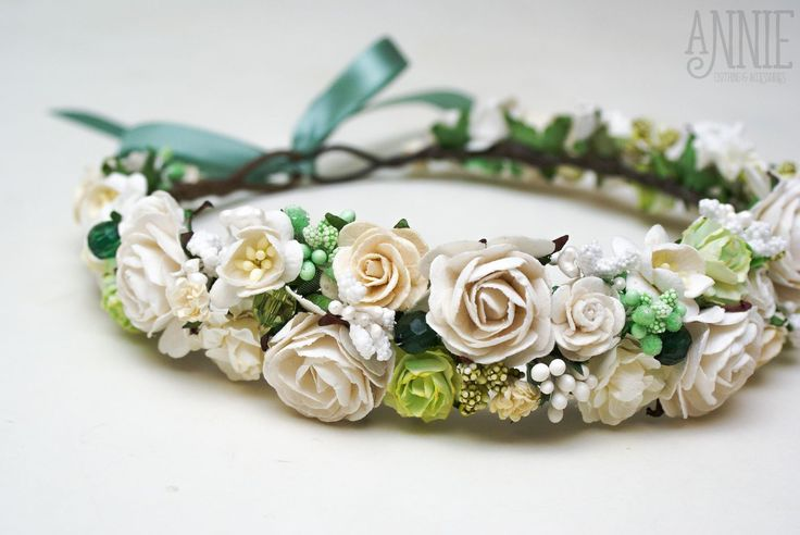 Купить Веночек на голову пышный бело-зеленый - венок, венок на голову, венок для невесты