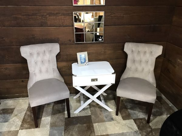 DOREL LIVING CLAIRBORNE TUFTED UPHOLESTERED DINING CHAIR GRAY SET OF 2 Furniture