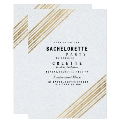Elegant white linen faux gold stripes Bachelorette Card - modern gifts cyo gift ideas personalize
