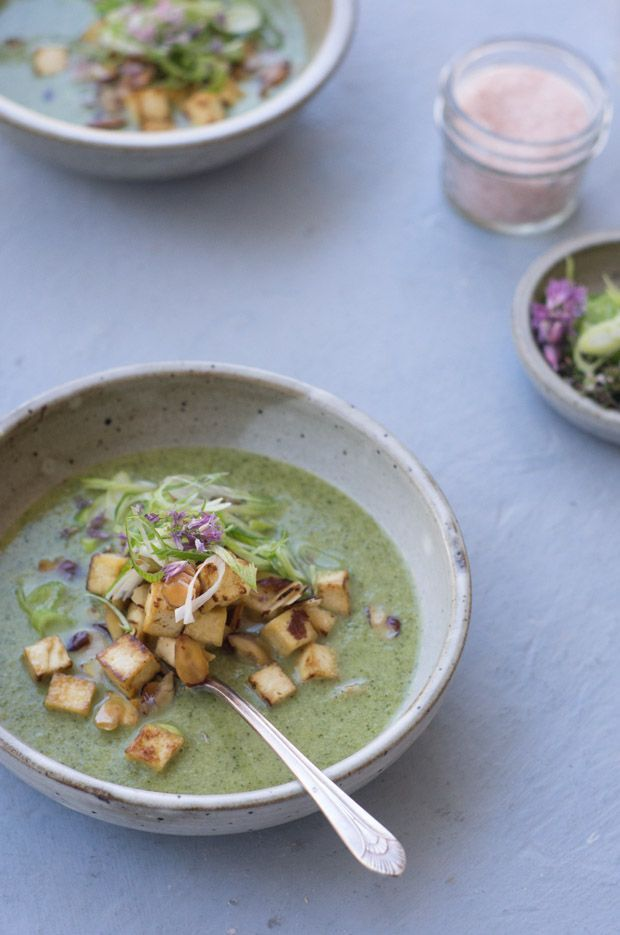 Coconut Broccoli Soup - Serve sprinkled with tofu cubes, toasted almonds, and lots of scallions.