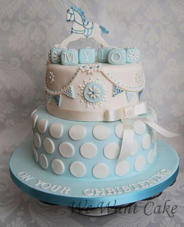 Christening cake LOVE THE POLKA DOTS (not so much the horse or the elaborate top layer's design)