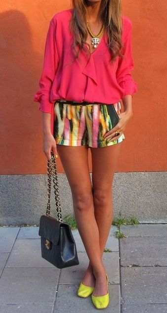 adore these printed shorts! #neon #flats