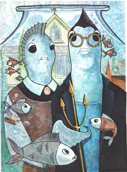 American Gothic Spoof Featuring A Fish Couple