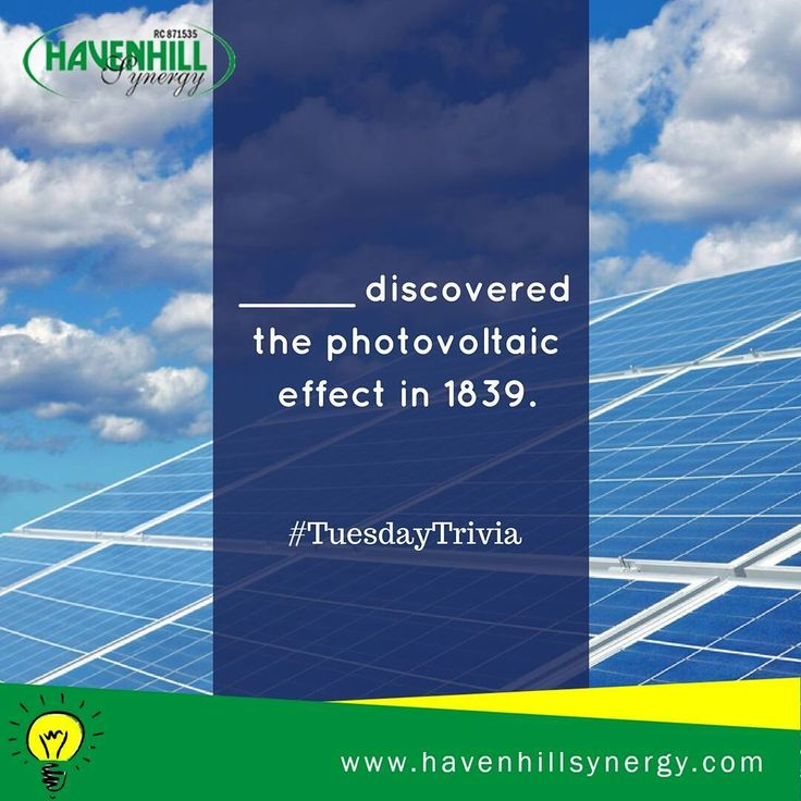 #TuesdayTrivia! ____ discovered the photovoltaic effect in 1839. a) Charles Fritts b) Edmond Becquerel c) Albert Einstein #Solar #HHSolar #LearnwithHHS #Nigeria #SolarPanels #GoSolar